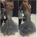 Elegante Contas Da Sereia Vestido de Noite do Querido Da Sereia Vestido de Baile Elegante Longo Vestidos Robe De Soiree Cinza Tulle Prom Dress