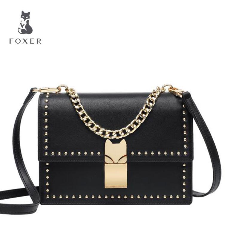 FOXER Women bag Rivet mini small square package New 2018 Fashion Shoulder Messenger Bag Chain bag shoulder messenger mini candy bag small square package 2017 summer fashion handbags women messenger bags tide packet chain bag
