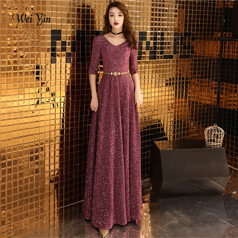 weiyin Robe De Soiree   Evening   Party   Dress   Real Photos Wine Red Color Sequined Party Occasion Formal Long   Evening     Dress   WY1233