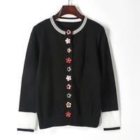 Autumn Winter Knitwear Cardigan 2017 Fashion Runway Designer Sweater Women 3D Flower Rivet Knitted Sweater