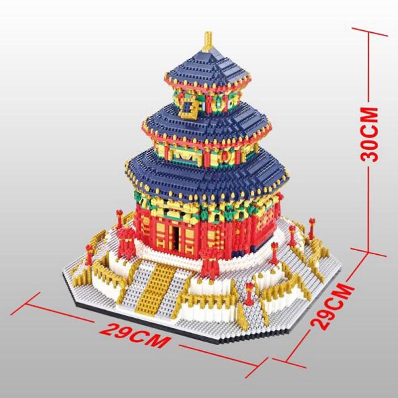 Yz 세계 유명한 건축 중국 천국의 사원 3d 미니 diy 다이아몬드 빌딩 작은 블록 아이들을위한 벽돌 장난감 상자 없음-에서블록부터 완구 & 취미 의  그룹 3