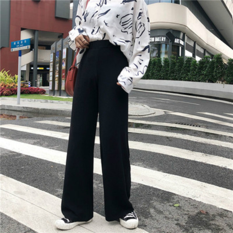2019 New Straight   Pants   Korean Women Trousers Autumn Winter Knitted   Wide     Leg     Pants   Elastic High Waist Female Casual Loose   Pant
