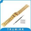 Universal Aço Inoxidável Pulseira 18mm 20mm 22mm 24mm Substituição Relógio Band Correia Fivela de Segurança Pulseira Preta ouro Prata