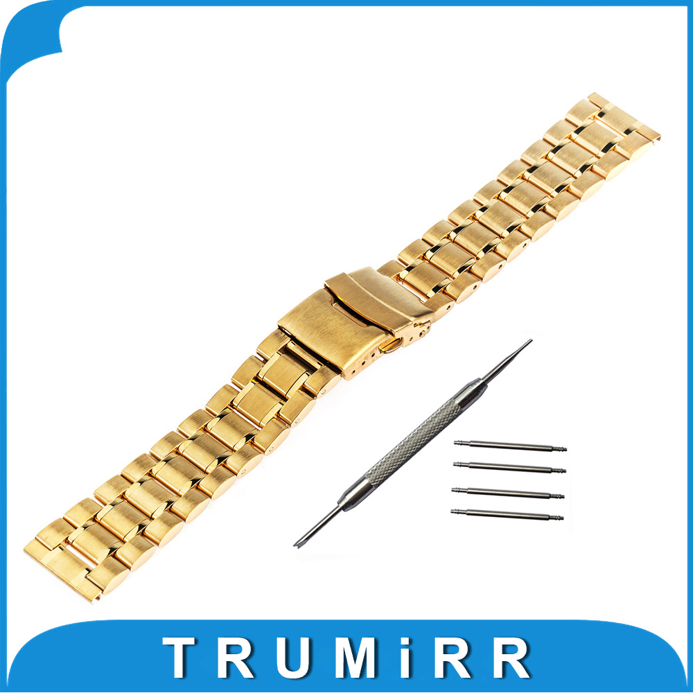 Universal Stainless Steel Watchband 18mm 20mm 22mm 24mm Replacement Watch Band Safety Buckle Strap Bracelet Black Gold Silver цена и фото