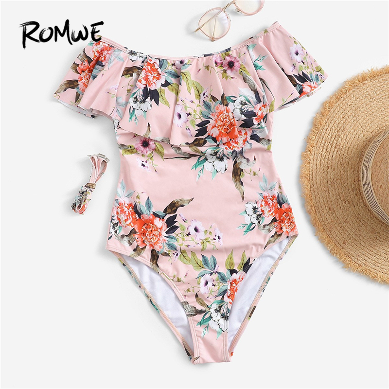 Romwe One-Piece Swimsuit Floral The-Shoulder Ruffle-Off Sport Summer Women Open-Back