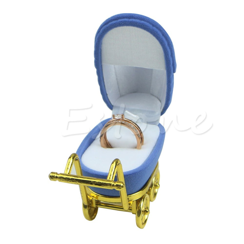JAVRICK Jewelry Box Gift Trolley Shape Blue Velvet Ring Box Earring Pendant Locket Necklace Jewelry Case Rings Display Box