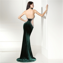 Sexy Halter Neck Velvet Prom Dress Mermaid Dark Green