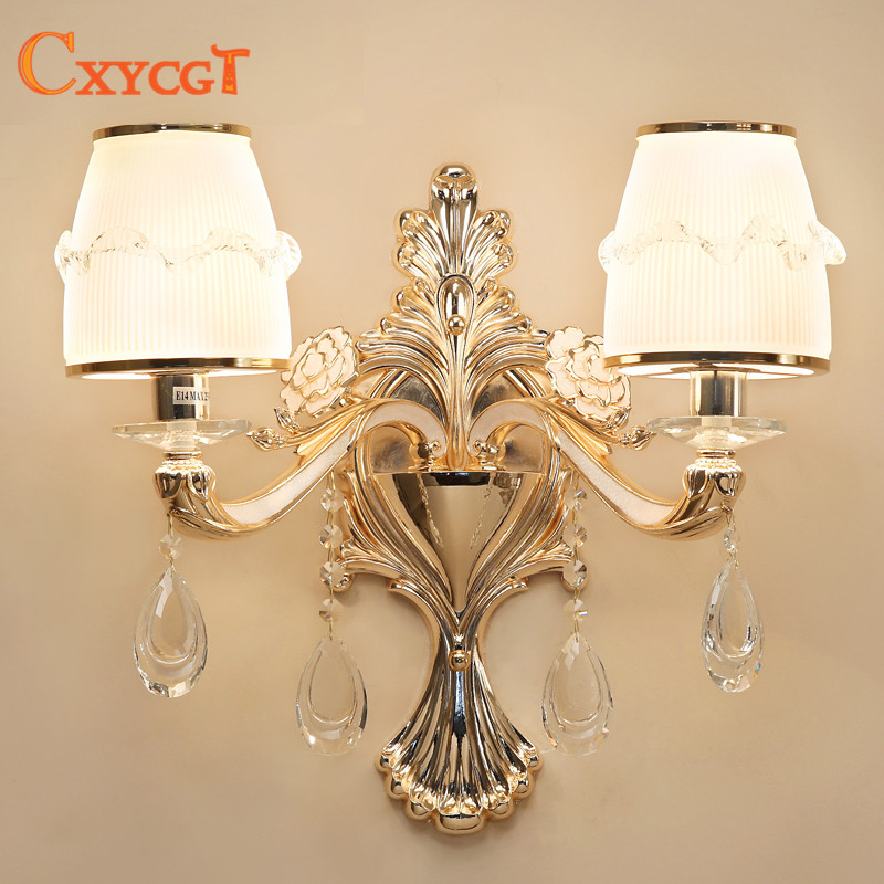European LED Luxury Hanging Crystal Zinc alloy Wall Lamps living room Bedroom Headboard Bedside Lamp Wall Sconce Light french villa crystal lamps living room chandelier bedroom lamps restaurant lamps alloy continental pendant glass zinc alloy led