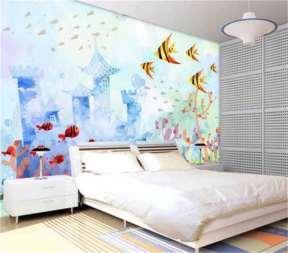 benutzerdefinierte gr e 3d fototapete kinderzimmer wandbild meer flunder cartoon malerei tv. Black Bedroom Furniture Sets. Home Design Ideas