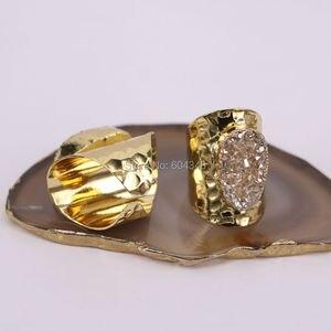 Image 2 - 5 יחידות הטבעי קוורץ רן טבעות סטון, תכשיטי טבעת אבן בנד טיטניום צבע זהב רחב