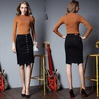 Womens Falda Jeans de Moda Slim Fit Señoras Elegantes Sólido Denim Faldas Divididas Vaqueros Femininas Saia Más Tamaño Falda De Mezclilla Tramo