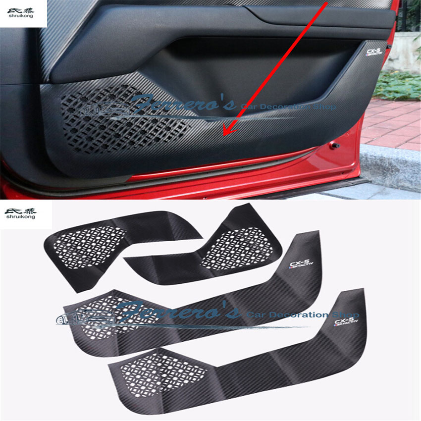 цена на 4pcs/lot for 2017-2018 MAZDA CX-5 CX5 CX 5 carbon fiber PU leather car stickers door protection kick cover car accessories