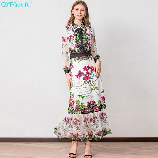 d071da6bd5ae2 QYFCIOUFU Runway Designer Boho Maxi Dress Women's Elegant Beach Vacation  Flower Printing Long New Arrival Party Dresses