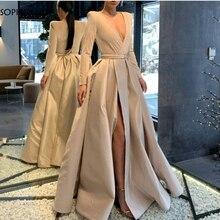 فستان سهرة جديد طويل الأكمام 2020 عاجي دبي فستان رسمي عربي abendkleider فساتين سهرة مثيرة طويلة
