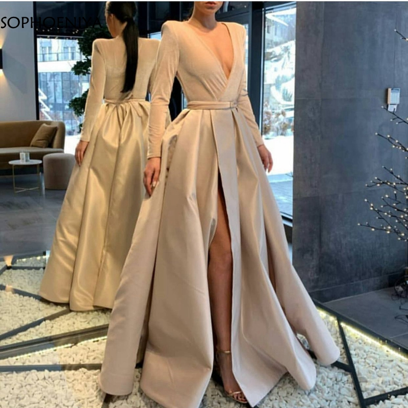 New Arrival Long Sleeve Evening Dress 2020 Ivory Dubai Arabic Formal Dress Party Abendkleider Sexy Evening Dresses Long