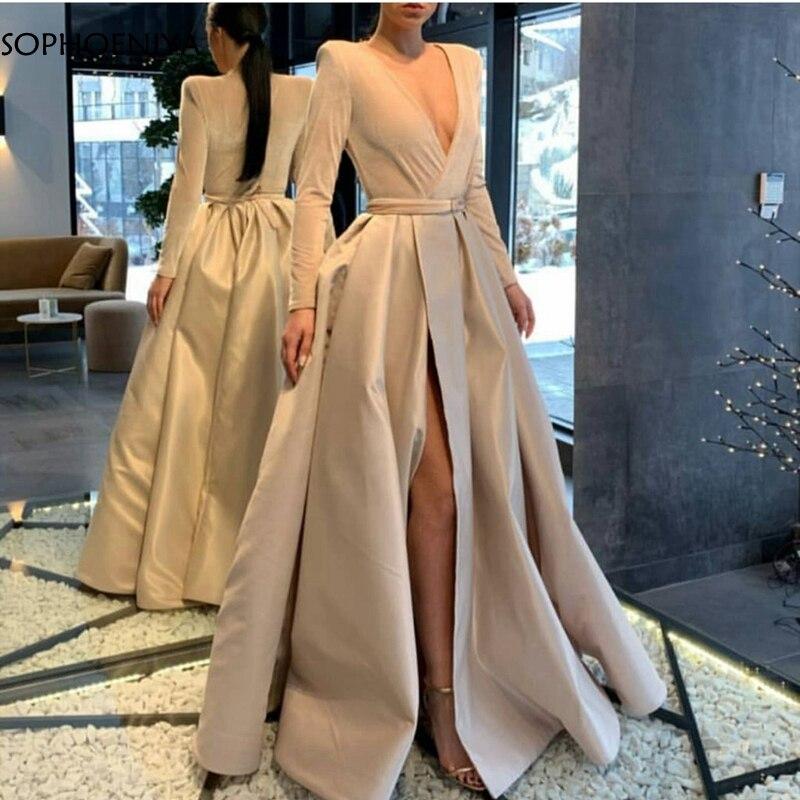 Nouveauté à manches longues robe de soirée 2020 ivoire dubaï arabe robe formelle fête abendkleider Sexy robes de soirée longue