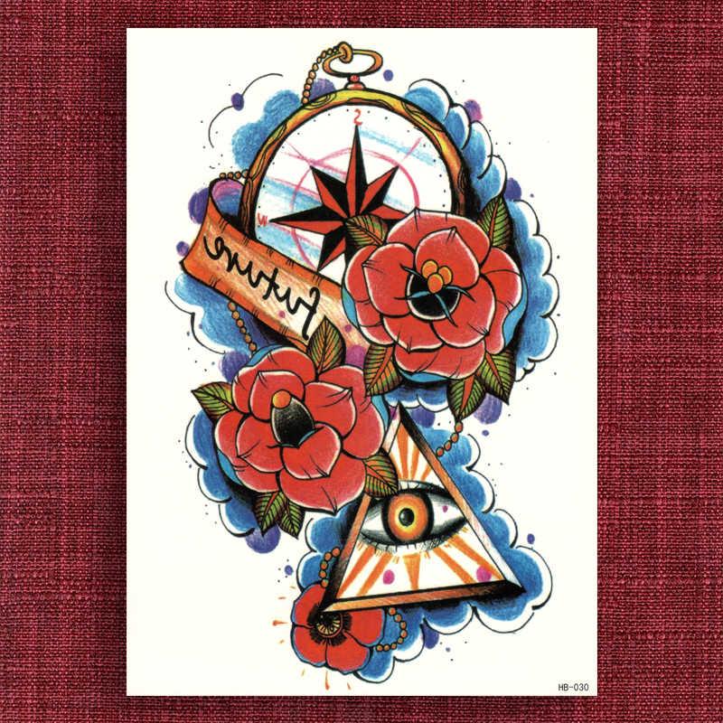 Water Transfer Fake tattoo Waterproof Temporary Stickers Future Eye Women Men Beauty Flower Arm Body Art Glitter Makeup Compass