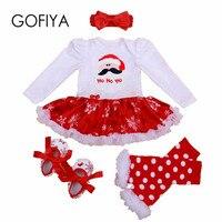 Noworodka Romper Dla Dzieci Boże Narodzenie Zestaw Dziewczynek Urodziny Z Długim Rękawem Romper Tutu z Sztylpy Dla Dzieci BEBE Buty bawełniane Outfits zestaw