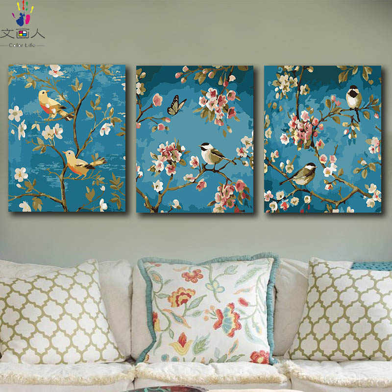DIY colorings pictures by numbers with colors Birds and flowers picture drawing painting by numbers home decor three pieces
