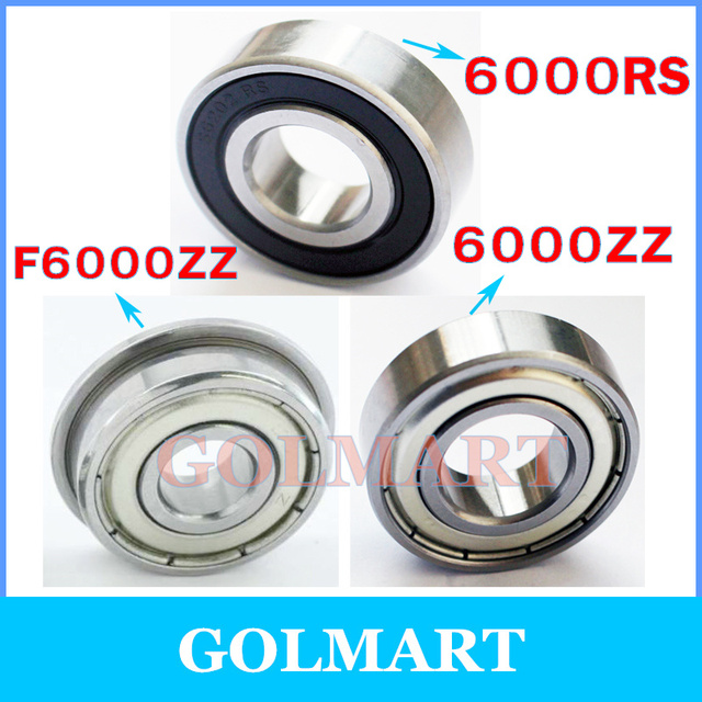 3pcs/lot metal shield 6000RS steel ball bearing 10x26x8 mm 6000ZZ 10*26*8 6000-2RS F6000ZZ S6000RS flange stainless ball bearing