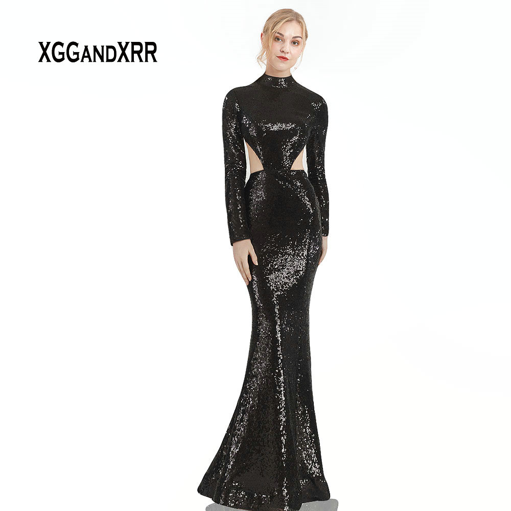 Sexy Black Mermaid   Prom     Dress   2019 Long Sleeves Sweep Train Sequin   Dress   Formal Party Gown robe de soiree Luxury Plus Size