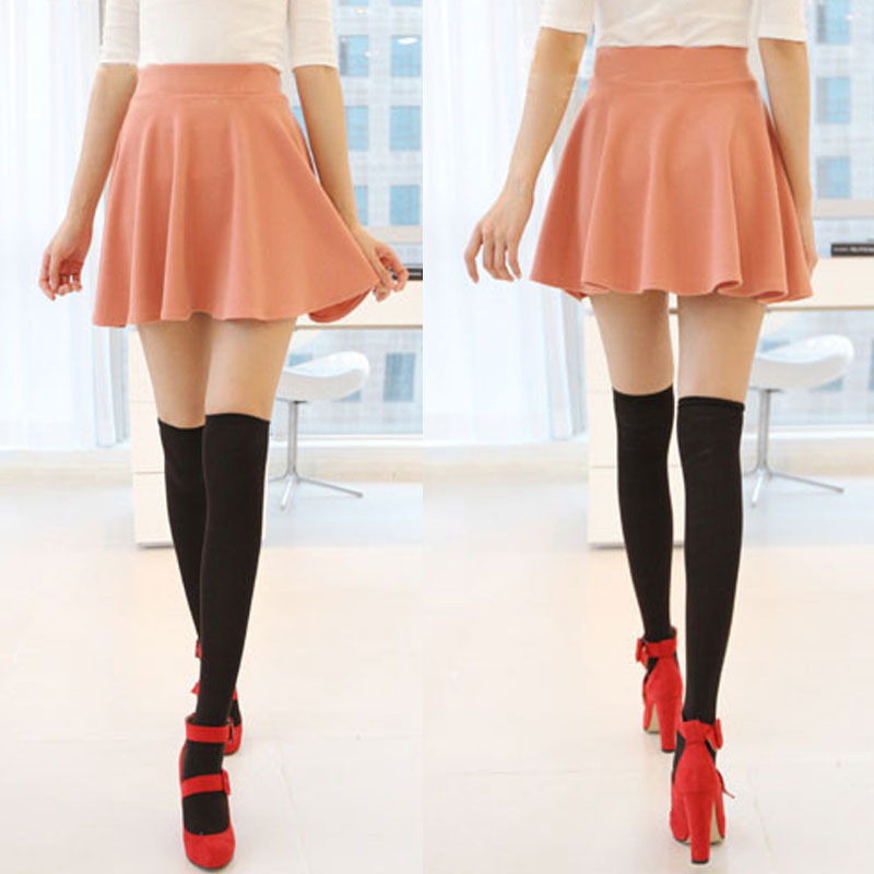 Skirts Womens Ladies High Elastic Skirt Waist Cotton Pleated Mini Short Skirt OL Slim New Sale Skirts Women