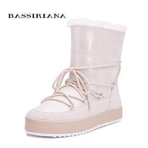 Image 2 - Botas de inverno sapatos mulher genuíno shearling snowboots preto branco azul 35 40 frete grátis bassiriana