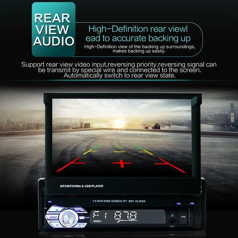 """VODOOL 7 """"折りたたみスクリーン車 MP5 プレーヤー 1080 p HD ステレオオーディオ RDS AM FM ラジオビデオプレーヤーサポート反転画像 USB/TF/AUX"""