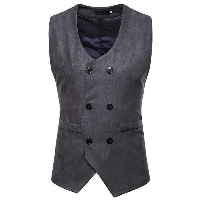 Mens Suede Pak Vest 2018 Mode Formele Business Casual Vest Mannen Gilet Business Wedding Tuxedo Vest Chaleco Hombre