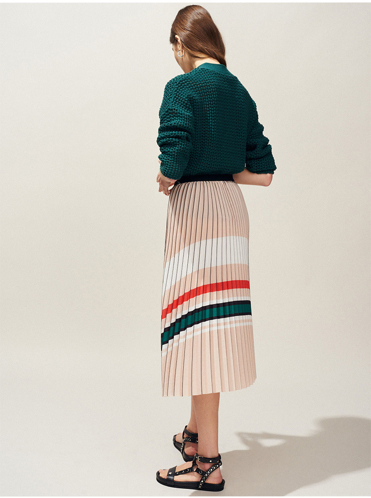 Women Skirt 2019 Spring and Summer New Contrast Color Striped Organ Pleated Skirt
