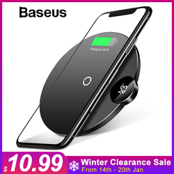 Baseus LCD Display Wireless Charger For iPhone X Xs Max Fast Wireless Charging Charger For Samsung Note 9 S9 S8 Xiaomi Mix2s