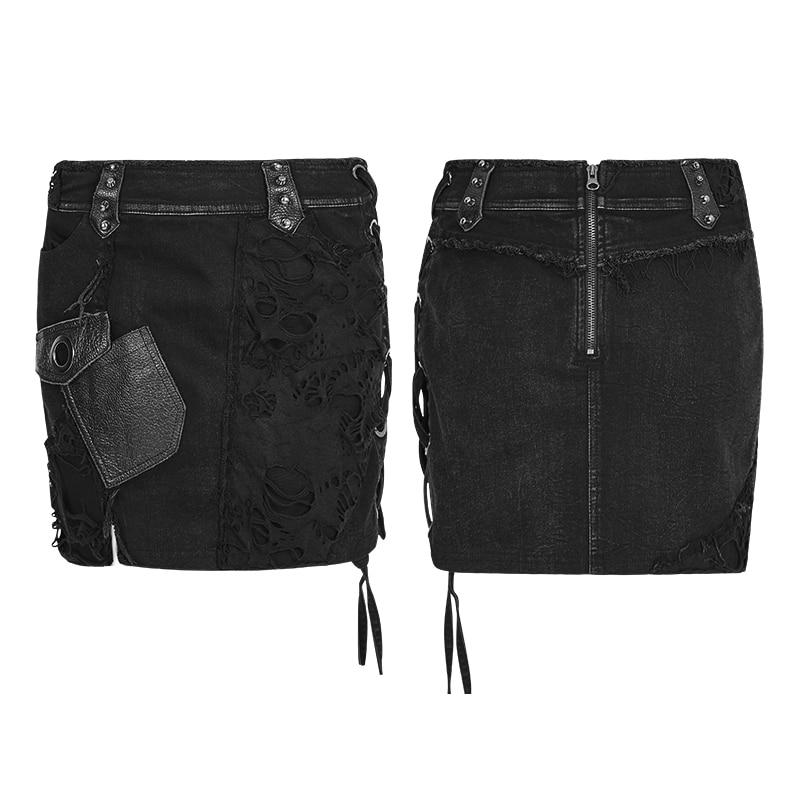PUNK RAVE Leather Pocket Rivet Lace Punk Rock Short Mini Denim ...