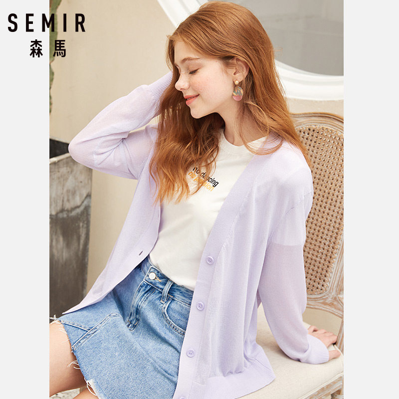SEMIR Sweater Cardigan Women 2019 Spring And Summer V-neck Hot  Design Thin Loose Cutout Cape Sweater Outerwear Female