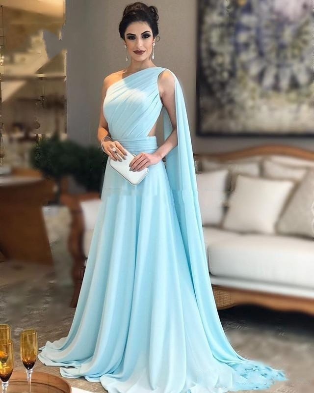 Affordable Wedding Guest Dresses: Plus Dresses Long 2019 One Shoulder Cheap Chiffon Saudi