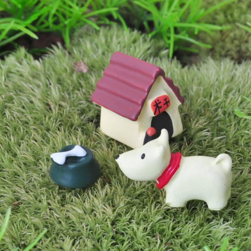 Honest 3 Pcs/set Zakka Small Decorations Resin Doll Ornaments Micro Landscape Doll Dog + House + Bone Plant Garden Decor Toys For Kids