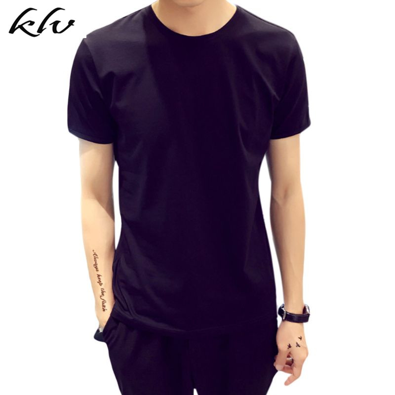 Mens O-Neck Neck cotton Casual T-shirt Slim Fit Short Sleeve Solid Color