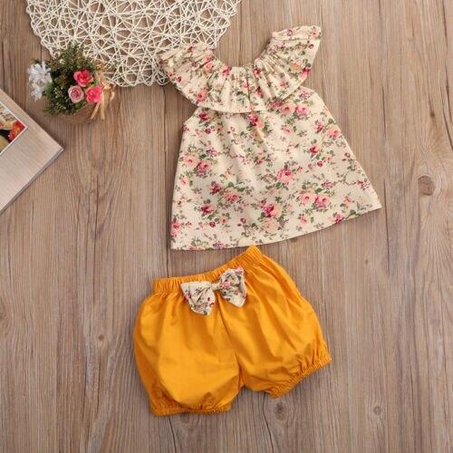 2pcs Kids Baby Girls Toddles Summer Sweet Floral Ruffles T Shirt Tops+ Yellow Bowknot Shorts Baby Girl Clothes Sets