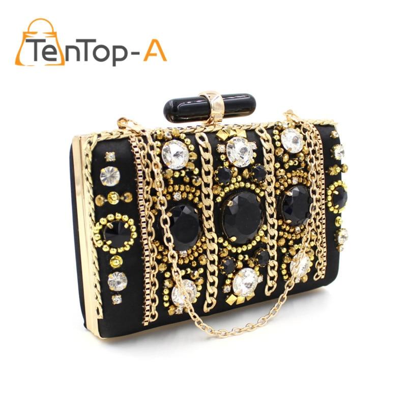 TenTop-Un Elegante Mujeres Negro Bolsos de Tarde de Lujo Joya de Diamantes de Lu