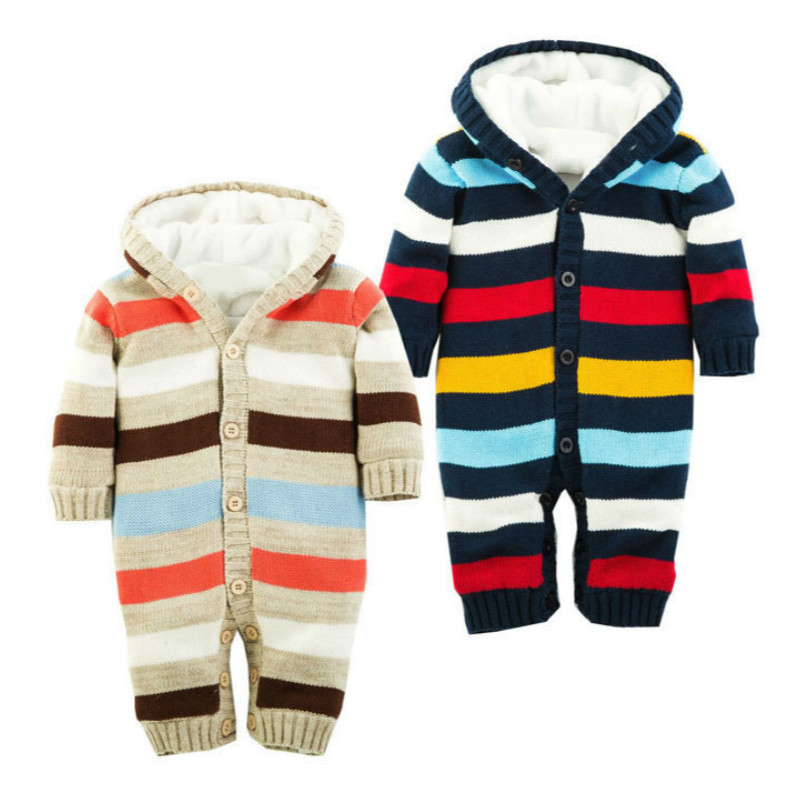 2017 Baby Boys Christmas Stripe Romper Winter Thicken Warm Baby Velvet Hooded Clothes Newborn Infant Jumpsuits Coveralls puseky 2017 infant romper baby boys girls jumpsuit newborn bebe clothing hooded toddler baby clothes cute panda romper costumes