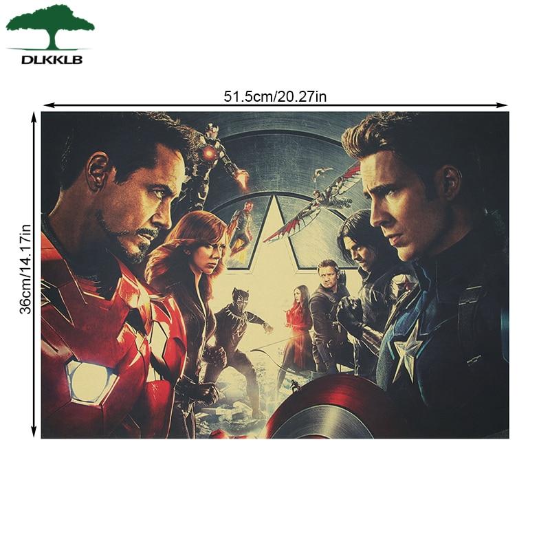 DLKKLB Марвел Винтаж Капитан Америка 3 Мстители фильм плакат крафт бумага плакат домашний декор живопись супер герой наклейки на стену