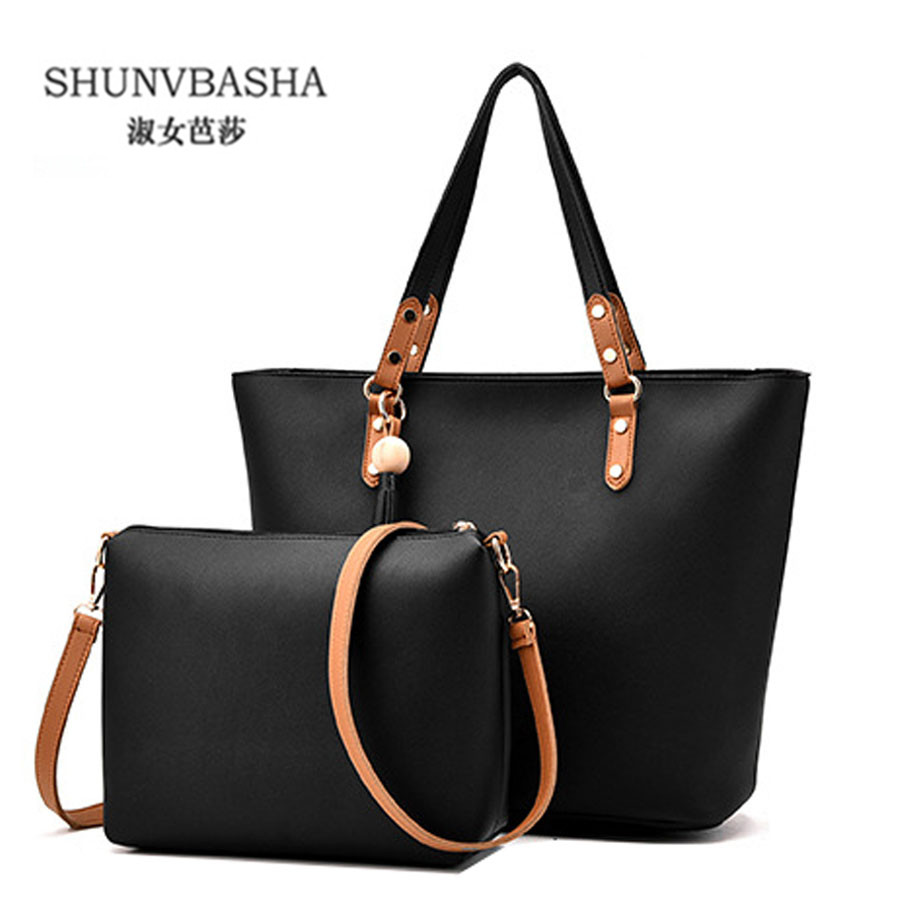 ФОТО Women High Quality Tote Bags Large Capacity Shoulder Bags For Ladies,Khaki Bags 2Set Bags Handbag+Purse Casual Clutches 8446