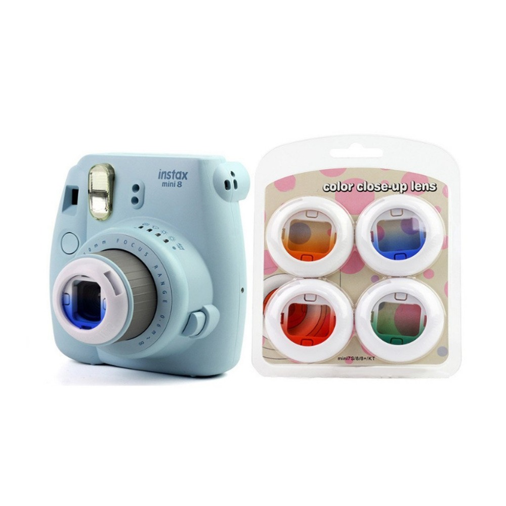 Portable Cute 4 Colors Gradient Camera Filter Close Up Lens For Fuji Instax Mini 7s/8/8 /Kitty Polaroid