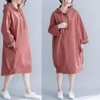 2018 Autumn Women Dress Fashion Simple Leisure Loose Hooded Pockets Vestidos Solid Color Plus Size Joker Brick Red Dress USWMIE