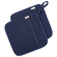 Neoviva Denim Quilting Hot Pot Holder with Pockets for Daily Kitchen, Set of 2, Solid Indigo Blue