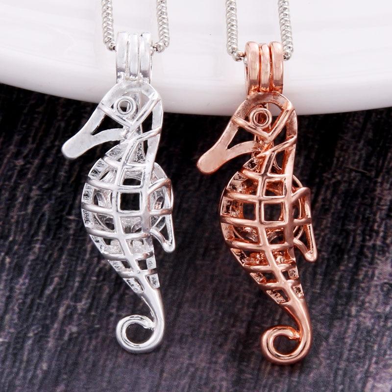 2 cores hippocampus pingentes pérola gaiola colar medalhão vintage aromaterapia difusor de óleo essencial corrente medalhão para a menina charme