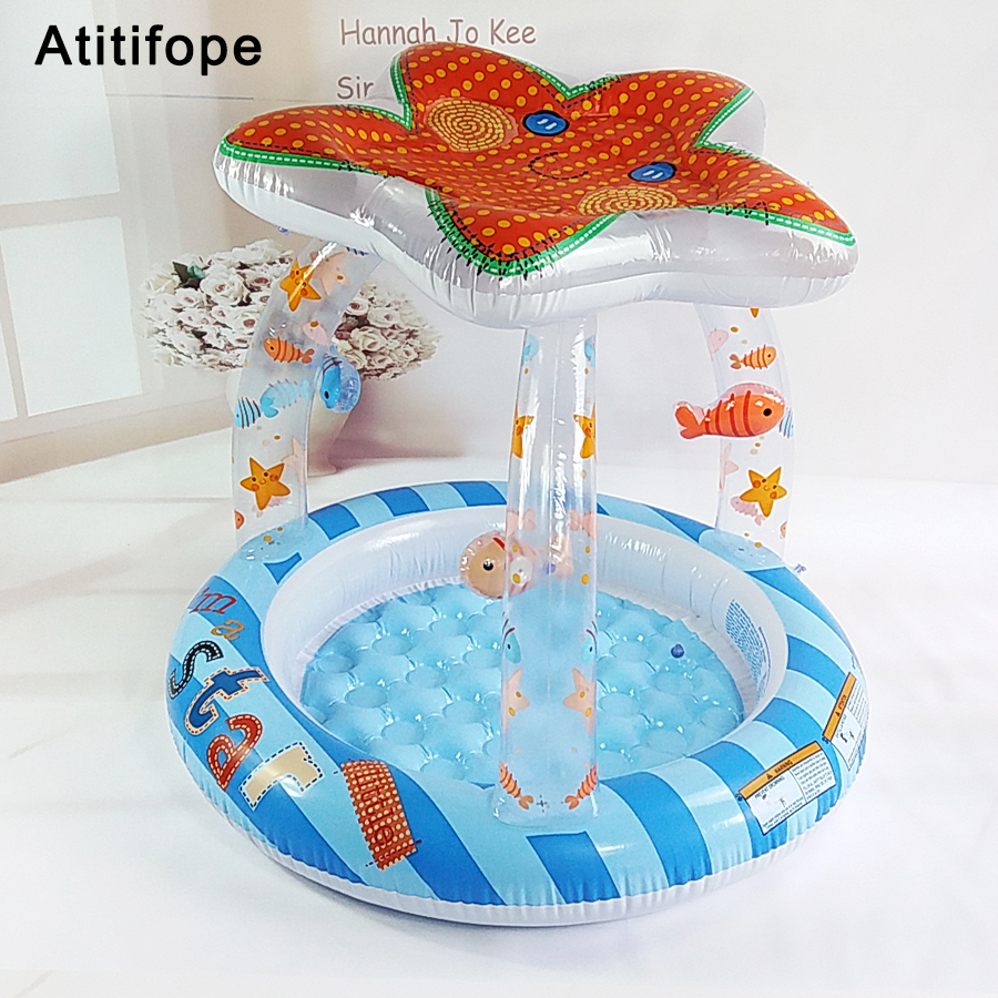 Cute Interesting Starfish Shaped Top-Ring Inflatable Support Plastic Bright Colors Children's Inflatable Pool Paddling Pool