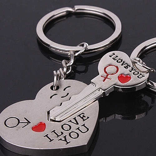 2 pçs/set Casal Chave Coração EU Te Amo Carta Esculpido Matching Anel Chave Chaveiro