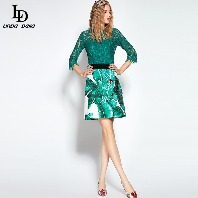 High Quality Women's Sets Bee Beading  Lace Tops + Sequin Banana leaf Printed Skirt suit