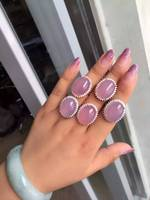 Natural pink chalcedony Ring Natural gemstone ring S925 sterling silver trendy luxurious big round women girl gift Jewelry