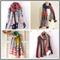 Japane Forest Mori Girl Sweet Unique Hmong Carves Shawl Women Floral Knitted Wool Ball Scarf Harajuku Novelty Scarf Top Clothing